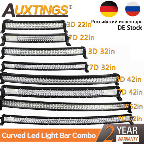 20/'/' 32/'/' 42/'/' 52/'/'inch 3D 7D Curved LED LIGHT BAR WORK LAMP 4WD BOAT OFFROAD EU
