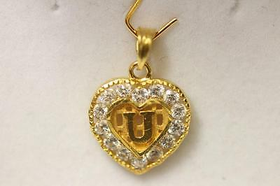 357083ff7f11d 22ct/916 stunning aatractive indian gold initial pendant letter U *Boxed* |  eBay