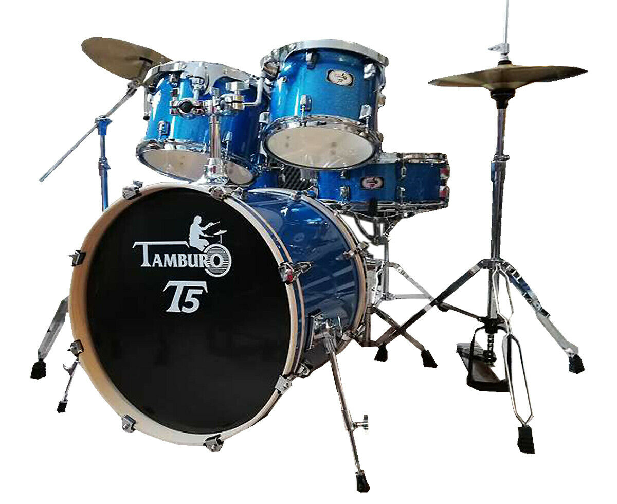 TAMBURO Schlagzeug T5 Serie Plus in Blau funkle 20 10 12 14 SD HW Cymbals