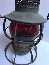 Vintage Red Globe Railroad Train Lantern Kerosene Lamp Light New York Central RR