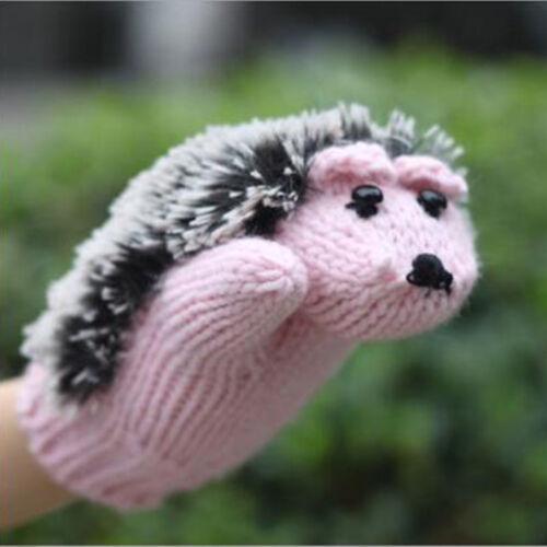 Women Lady Winter Warm Wrist Gloves Knitted Fleece Cartoon Hedgehog Fur Mittens
