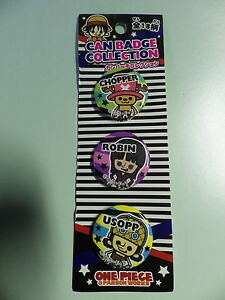 One-Piece-3-badges-neuf-blister-chopper-robin-et-usopp-BANPRESTO-import-jap