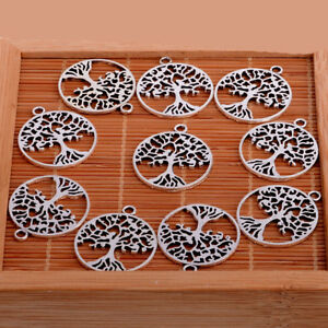 10X-Silver-Tree-Of-Life-Charms-Pendant-For-Necklace-Bracelet-Metal-Tree-Charms