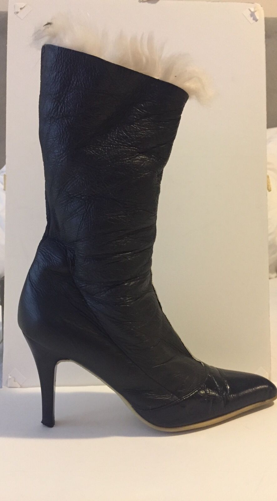 Vicini Black Shearling-lined Boots Made in Italy Size 37