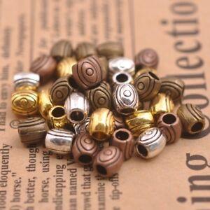 50PCS-Tibetano-Argento-Perline-Distanziatore-Ciondolo-Rotondo-scegliere-i-colori-6MM-A3157