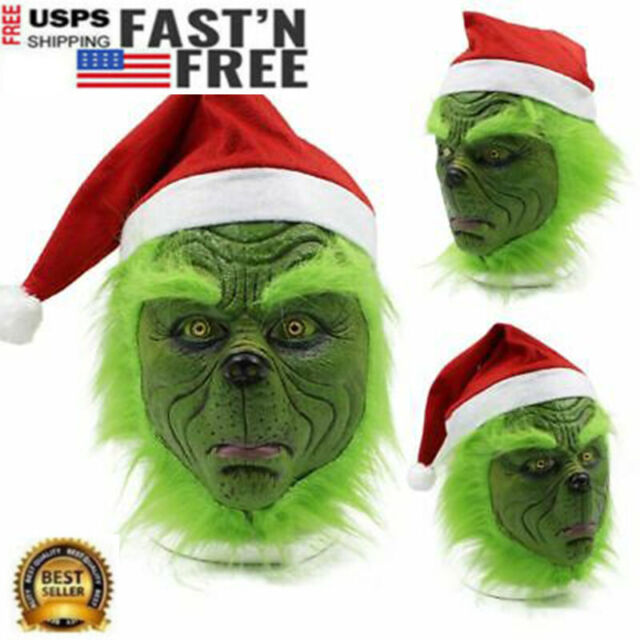 Grinch That Stole Christmas.The Grinch Cosplay Mask Adult Costume Helmet How The Grinch Stole Christmas Prop