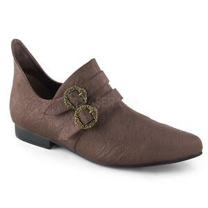1-034-Heel-Matte-Brown-Renaissance-Elf-Cosplay-Costume-Faire-Buckle-Shoes-Mens-8-14