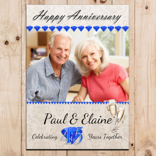 Personalised Sapphire 45th Wedding Anniversary PHOTO Poster Party Banner N97