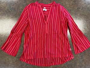 Ann-Taylor-LOFT-Women-Red-White-striped-Long-sleeve-V-neck-flowing-top-size-S