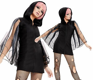 Hooded-Dress-Adults-Halloween-Spider-Fancy-Dress-Costume-Womens-Outfit-New