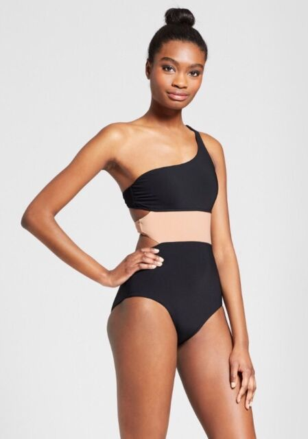 710424cd4fc57 SUNN LAB SWIM Colorblock One Shoulder Cut Out One-Piece Swimsuit Women s L  NWT