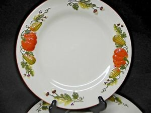 Harvest-Pumpkin-set-of-3-Dinner-Plates-New