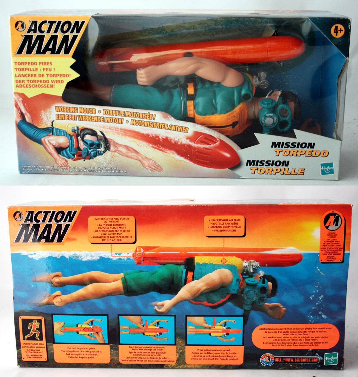 VERY RARE 1999 ACTION MAN MISSION TORPEDO FIGURE WORKING MOTOR HASBRO NEW MISB