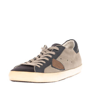 RRP €210 PHILIPPE MODEL Leather Sneakers EU43 UK9 US10 Dirty Look Made in Italy