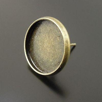 Antiqued Bronze Tone Brass Earring Stud Setting (Inner Size:14*14mm) 30pcs