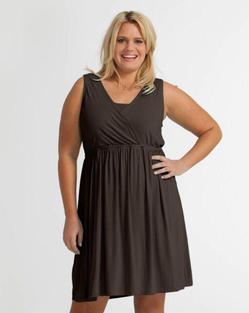 Fresh Produce Crossover Tank Dress 3x Truffle Brown Womens Plus