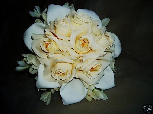 Calla Lily & Ivory Roses Silk  Wedding  Bridal Bouquet