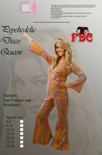 PSYCHEDELIC DISCOTECA REGINA ANNI 70 DISCOTECA Dancer Donna Costume Taglia 12-14