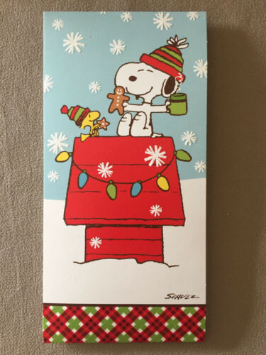 "7/"" X 3 1//2/"" Peanuts /""Snoopy /& Woodstock/"" Christmas Card And Red Envelope NEW!"