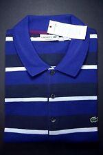 NWT Lacoste Men's Regular Fit Blue/Navy Striped Mesh Cotton Polo Shirt 3XL Eur 8