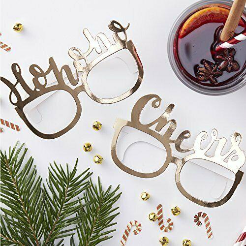 Red /& Gold Ginger Ray Christmas Gold Photo Booth Kit Fun Hohoho Glasses x 8