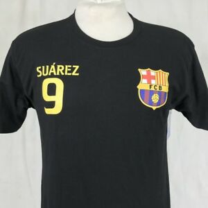 8576390aa66 FCB Barcelona  9 Suarez Soccer Mens Medium T-Shirt Black Football ...