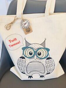 Handmade Owl fabric tote bag