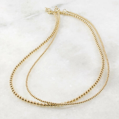 Skinny Delicate Layering Choker 14k Gold Filled Bead Necklace