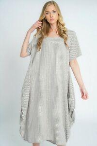 Neuf-Femmes-Lagenlook-Italien-original-a-rayures-en-lin-2-Poche-Encolure-Degagee-Robe-Longue