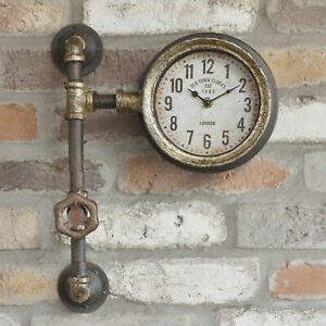 Metal-Industrial-Antique-Rustic-Warehouse-Factory-Station-Pipe-Wall-Art-Clock-B