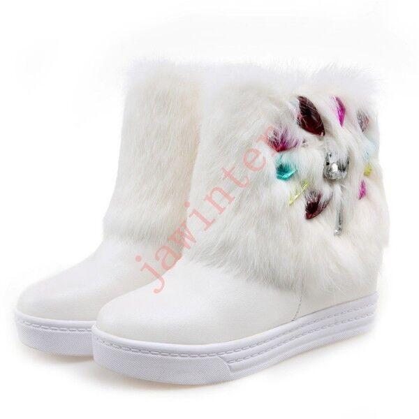 contatore genuino donna Rabbit Fur Trim Snow Colorefur Diamond donna donna donna Warm Snow stivali scarpe WHite  lo stile classico