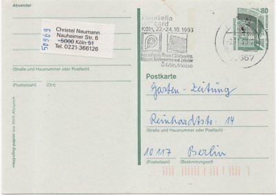 """Gs Mit Maschinenstpl Diplomatisch Bund Köln """"philatelia Mit T´card 1993"""""""