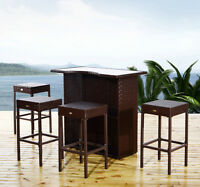 5pc Outdoor Rattan Pe Wicker Bar Set Bistro Patio Dining Furniture Table Stool on sale