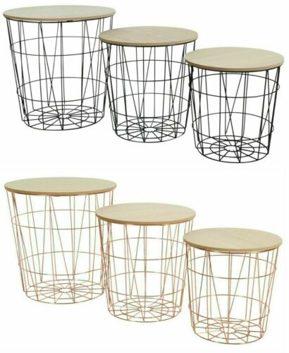 Coffee Table Retro End Bed Side Table Metal Wire Storage Basket Gold White Black