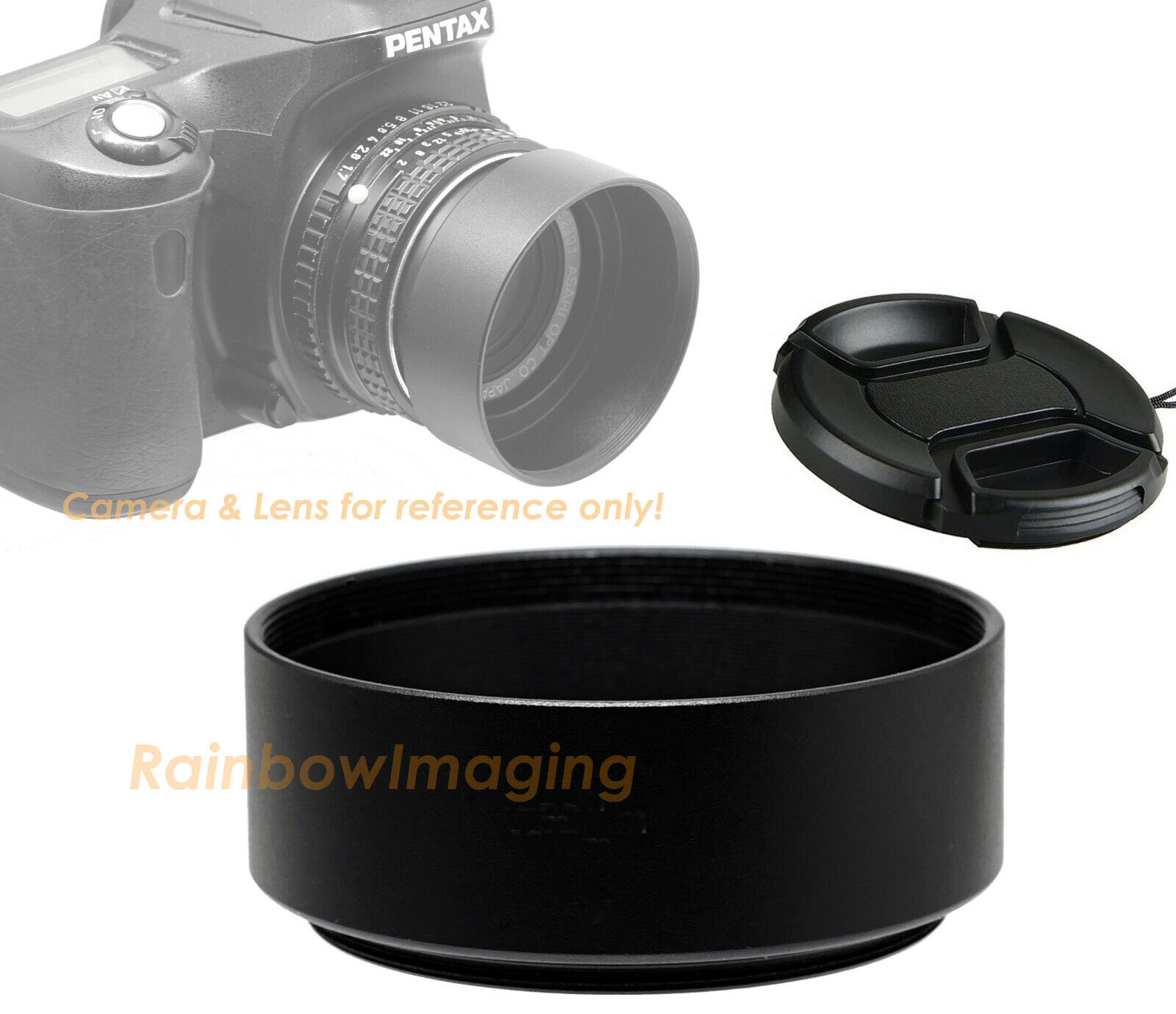 Cleaning Cloth 55mm Metal Standard Screw-in Standard Lens Hood Sunshade with Centre Pinch Lens Cap for Canon Nikon Sony Pentax Olympus Fuji Sumsung Leica Camera