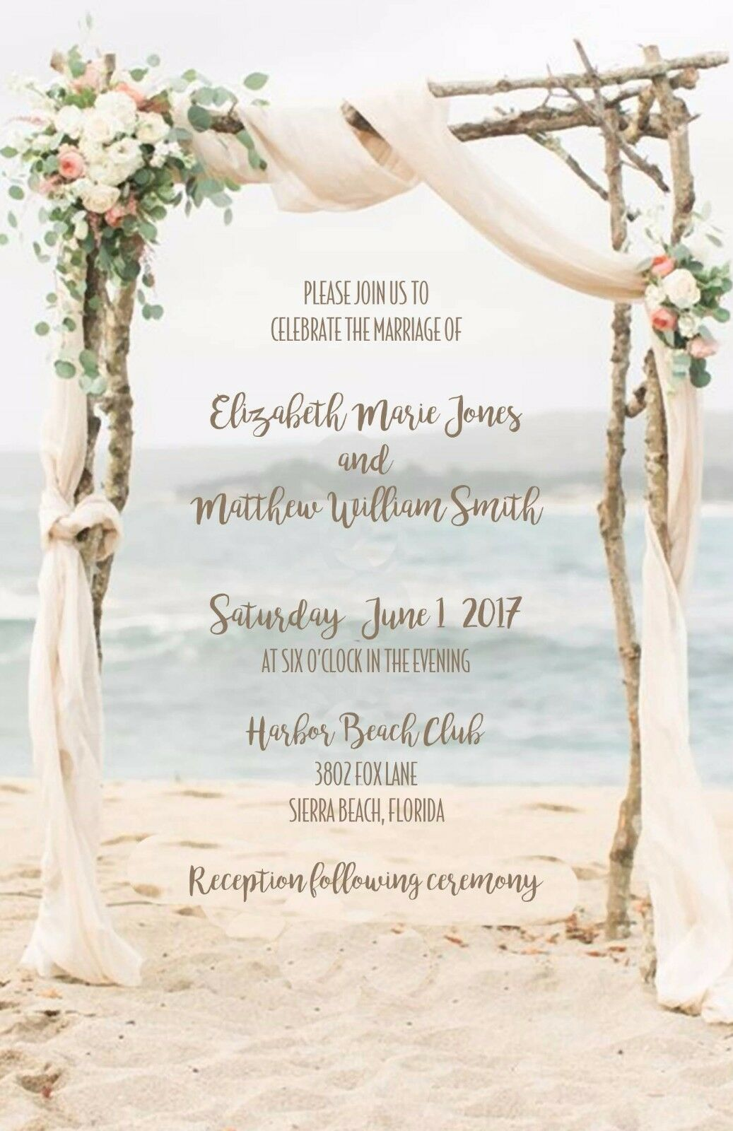 Wedding Invitations Beach Arbor Beach Destination Wedding 50 Invitations & RSVP