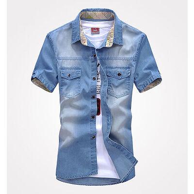 New Men's Jeans Short Sleeve Casual Slim Stylish Wash-Vintage Denim Shirts