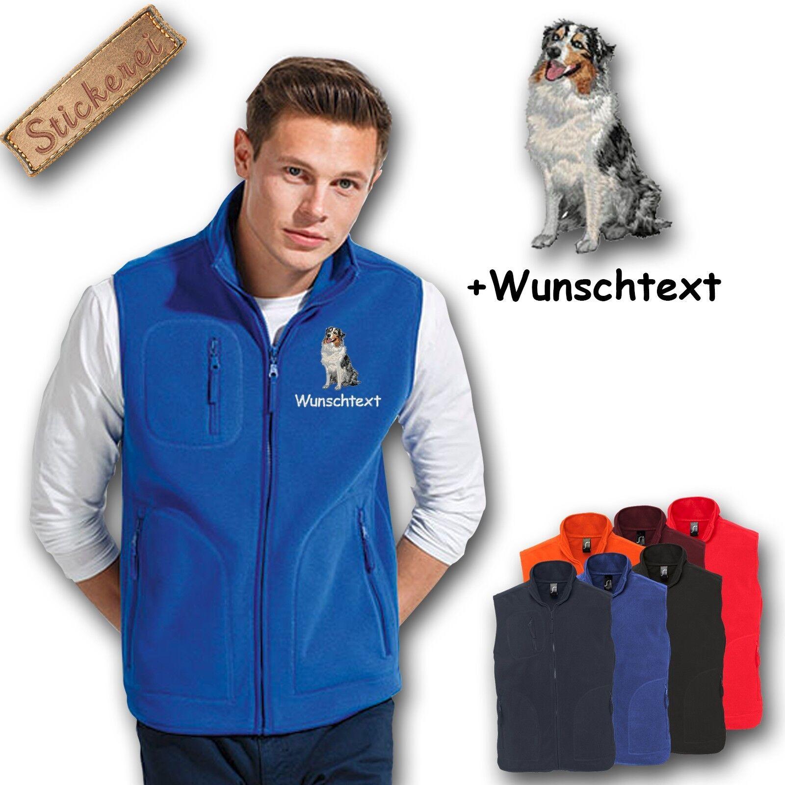 2a3c4148e Vest Embroidered Embroidery Australian Shepherd + Name Dog Fleece ...