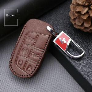 For-Jeep-Grand-Cherokee-Top-leather-car-key-case-holder-cover-remote-fob-Brown