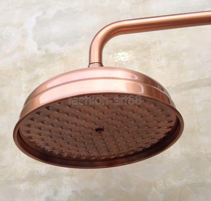 8 Inch Round Red Copper Antique Bathroom Top Spray Rain Shower Head ...