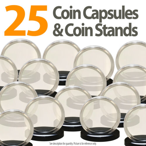 25 Coin Capsules /& 25 Coin Stands for PRESIDENTIAL $1 //SACAGAWEA Airtight 26mm