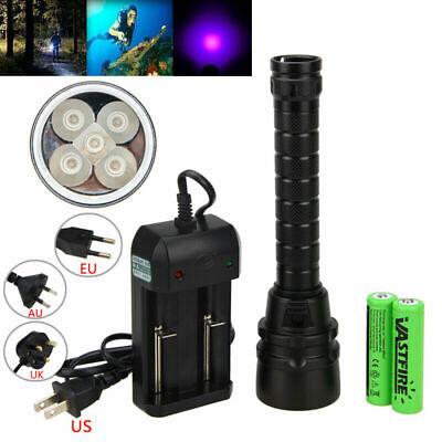 Waterproof 395nm Diving 5 x UV LED Dive Scuba Flashlight Torch 2x18650 Lamp 100m