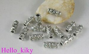40Pcs-Tibetan-silver-dotted-tube-spacer-beads-A8222