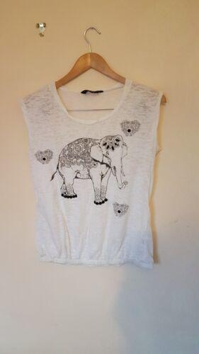 10 Size Perkins lt  T With Motif Dorothy Elephant Cream cx772 Shirt PfxTn1 11f25556f45