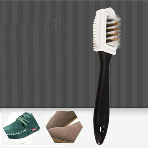 Durable Black S Shape Boot Shoes Cleaner 3 Side Shoe Cleaning Brush Suede