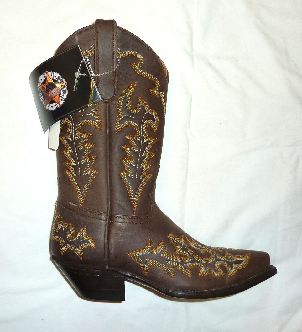 Star W7021 Size 10B Medium Womens Western Cowgirl Boots BROWN CRAZY HORSE NEW