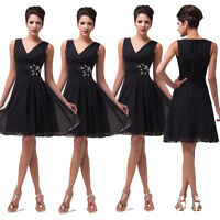 New Short Chiffon V Neck Cocktail Party Evening Dress Bridesmaid Mini Ball Gown