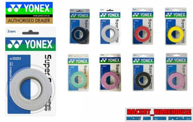 2 x YONEX SUPER GRAP AC102EX 3 x OVER GRIP PACK FOR BADMINTON TENNIS SQUASH
