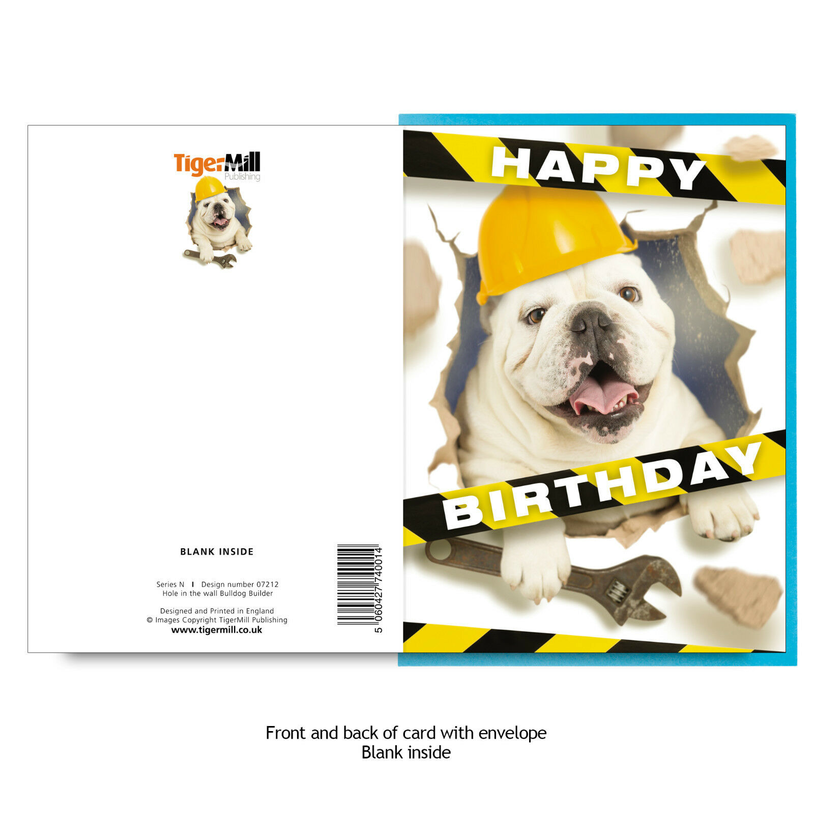Funny English Bulldog Dog Builder Plumber Busts Through Wall Dad Birthday Card
