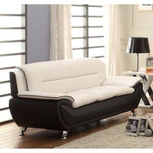 Stupendous Details About Kingway Furniture Montac Faux Leather Living Room Sofa Black Beige Customarchery Wood Chair Design Ideas Customarcherynet